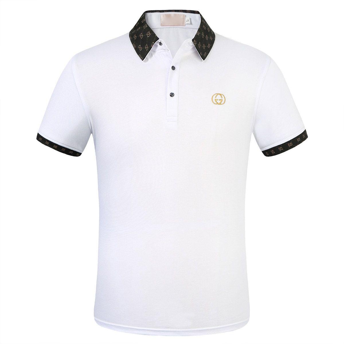2020 venta caliente de la camisa de polo de algodón nuevo verano los hombres se niegan stand-up collar de estilo social informal camisa de polo de los hombres del te del bordado de la marca