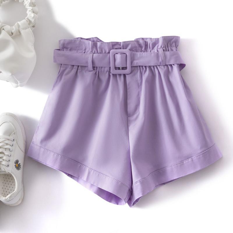 TIGENA High Waist Shorts for Women 2020 Summer Thin Korean Belt Pocket Shorts Female Casual Purple Pink Yellow Short Pants Women