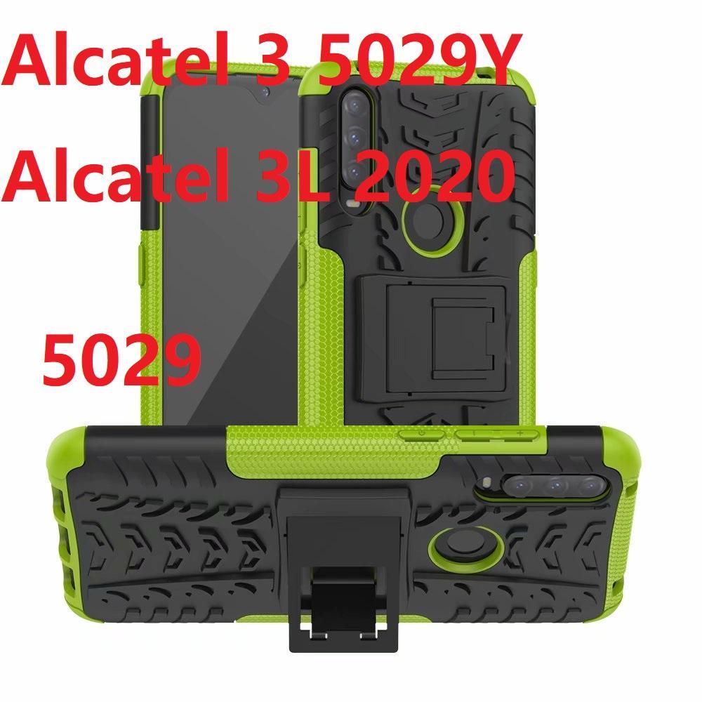 Casos de teléfono híbrido para Alcatel 5029 5029Y 3 Caja dura de la protección de la armadura pata de cabra Gelatina Blanda de Alcatel 3L 2020 Cubiertas de silicona