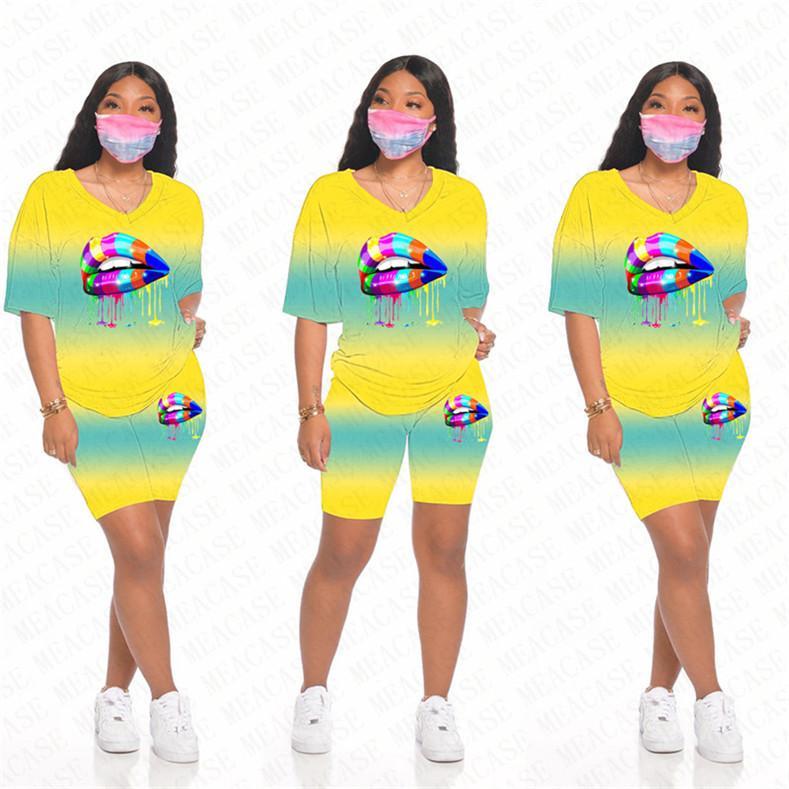 Femmes Survêtement Designer Lèvres dégradé Impression couleur col V à manches courtes T-shirt Short deux pièces Tenues Costume Sport Mode D71601