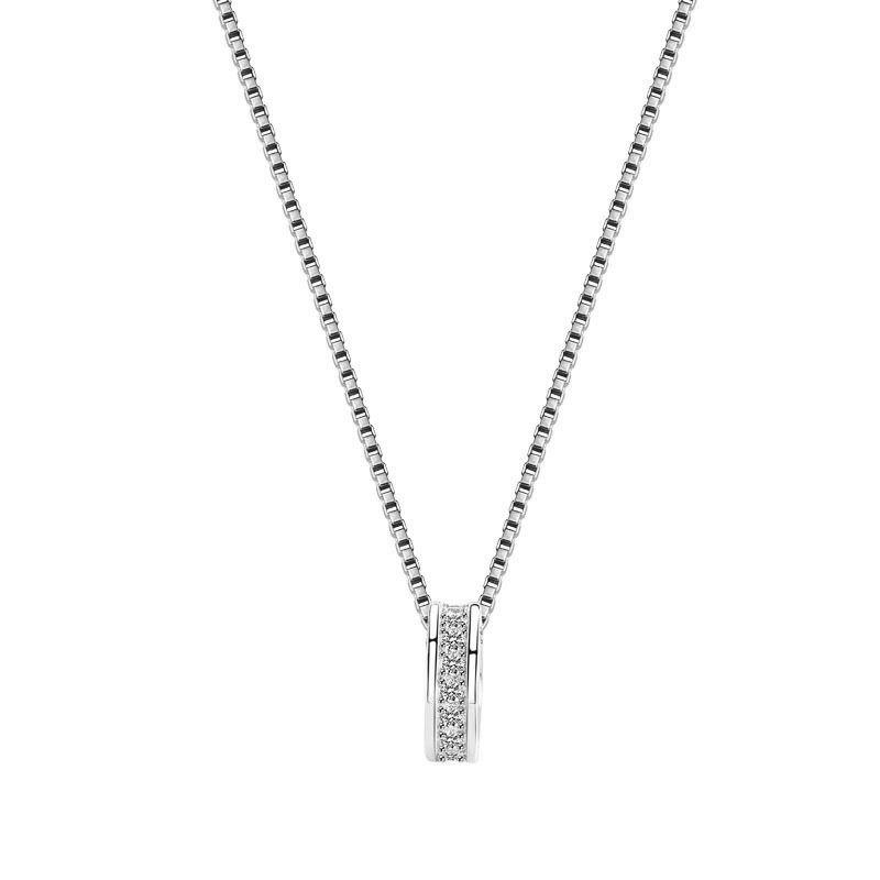 D S925 Sterling Silver Box Cadeia Colar da forma OL coreano Zircon Clavícula corrente de prata Jóias Fábrica Moq1