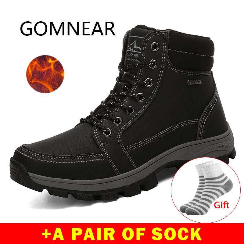 GOMNEAR hiver Bottes de randonnée Hommes Respirant Outdoor Chaussures de randonnée Chaussures en cuir imperméable escalade en caoutchouc Chasse Bottes Baskets