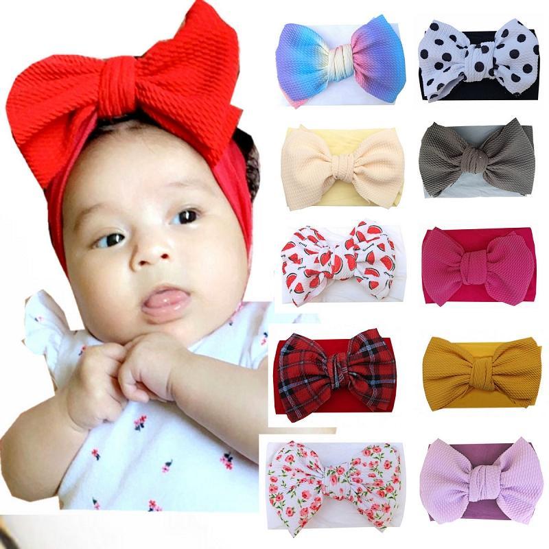 28 Renkler Bebek Büyük yay kafa bantları çocuklar Saç Elastik Şapkalar Headdress saç bandı Headwrap Turban Knot Çocuk Saç Aksesuarları M2348 fiyonklar