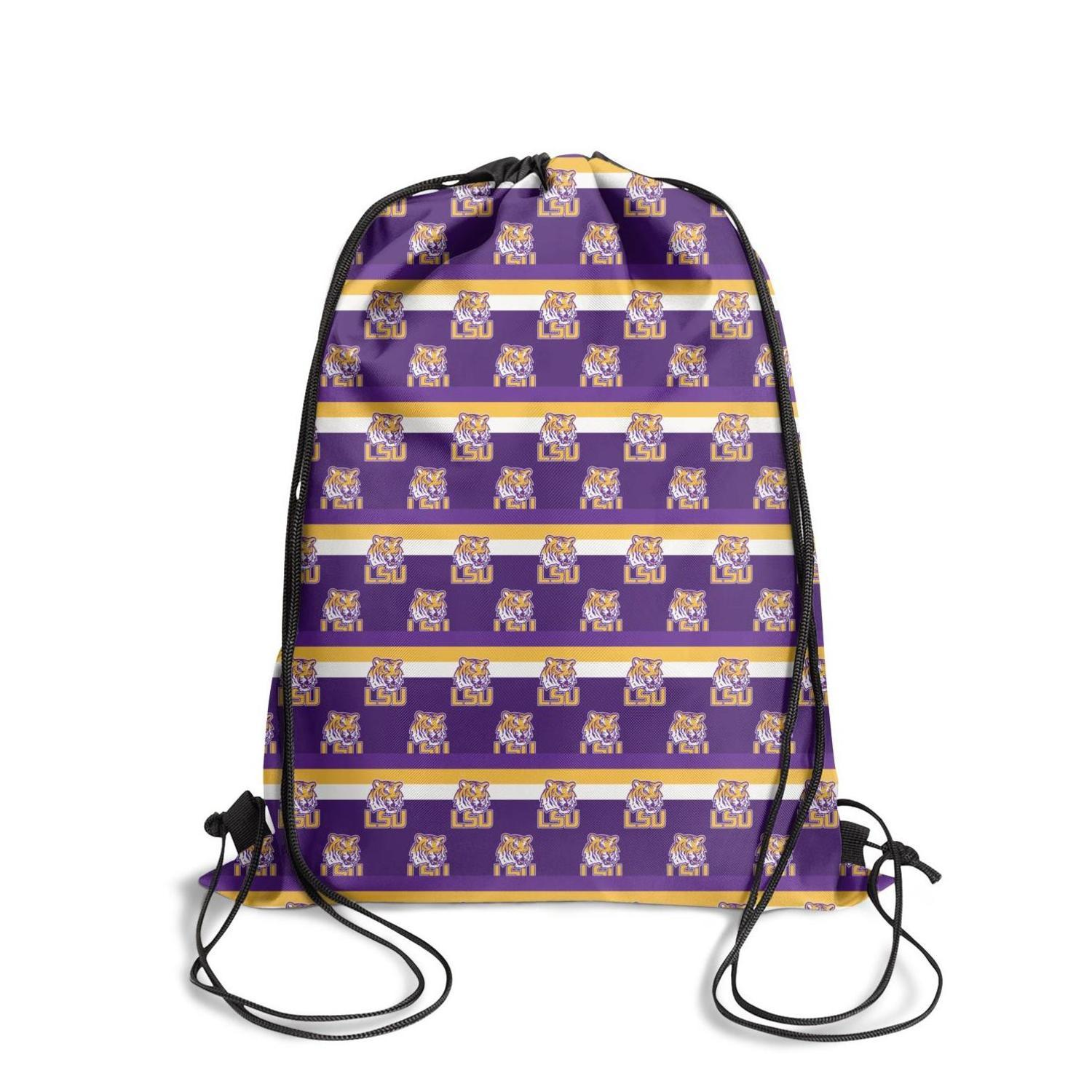 LSU Tigers Christmas Football Yellow Fashion Cinch Belt Backpack,Design Best Suitable For Gym football basketball Purple and Gold Logo