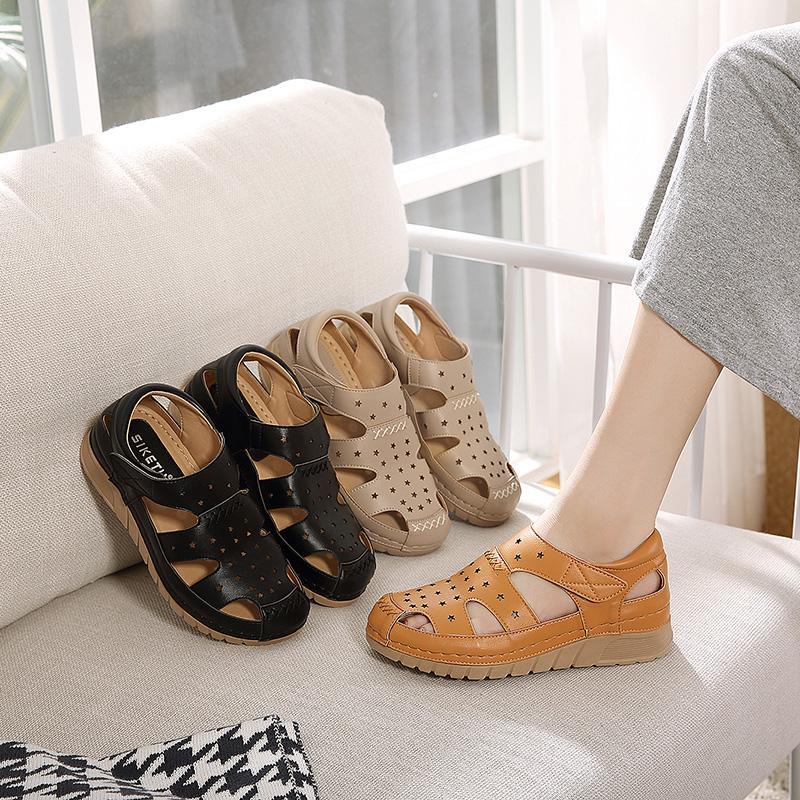 sandales maman en cuir doux dames d'été non-glissement d'âge moyen inférieur à fond plat sandales talon milieu plage légère