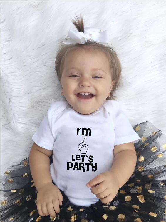 Мой первый день рождения Baby Girl Нижнее платье Я один Давайте партии, то для девушки партии Детей Туту маленьких девочек малышей Одежда