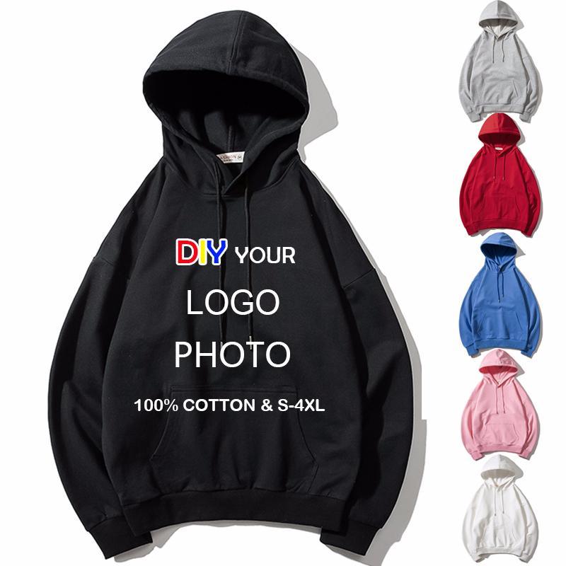 Os homens / mulheres personalizado hoodies DIY foto do texto Imprimir capuz Hoodie bordado personalizado camisola de algodão de alta qualidade CX200723 streetwear