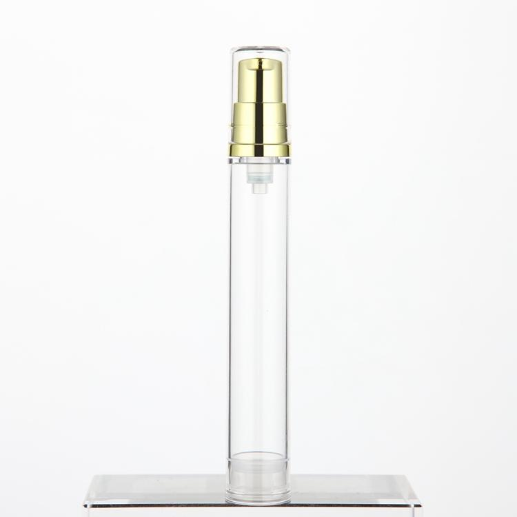 Empty 15ml clear bottle with gold/silver airless pumps, travel cosmetic skin care products dispenser wholesale