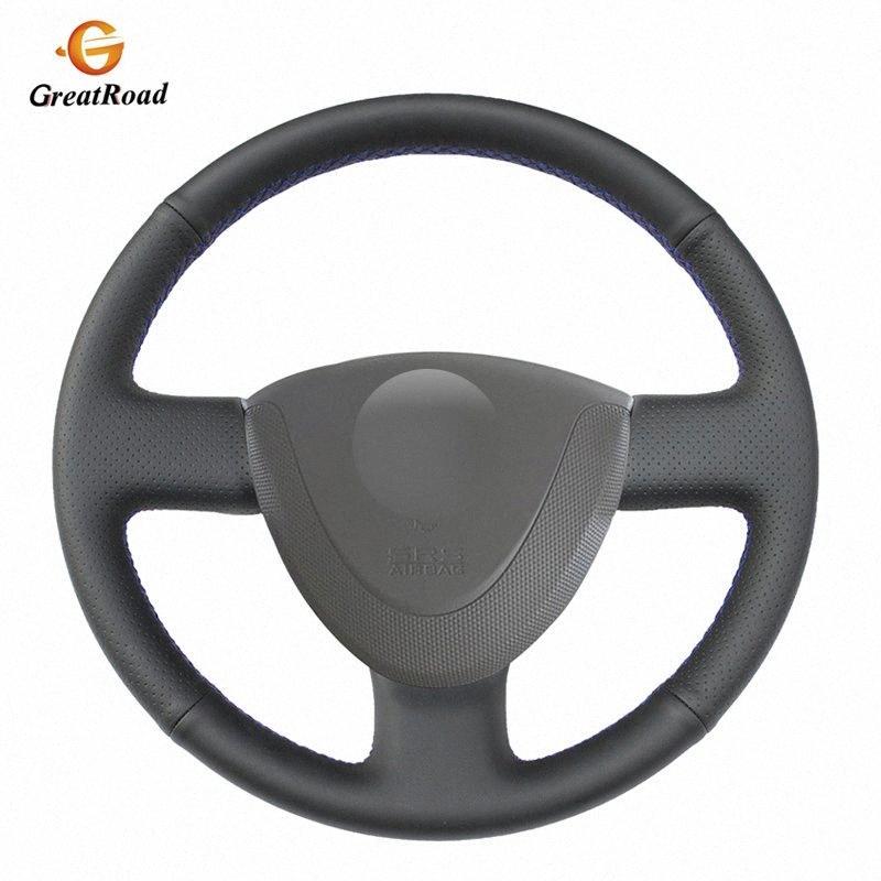 Negro PU artificial de piel cubierta de la rueda del coche para la ciudad 2002 2008 2001 2007 Jazz Fit Dirección acolchada cubierta de rueda de partes de un automóvil px9S #