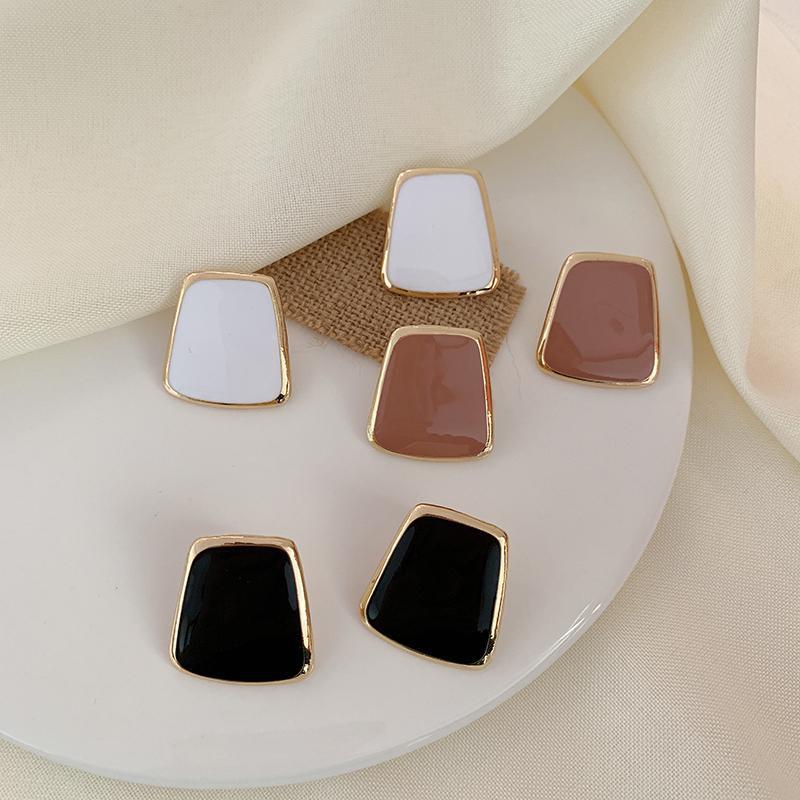 Coreano Preto Rosa Moda Branca Esmalte Big brincos para mulheres 2020 Declaração de jóias simples geométrica Brinco Oorbellen