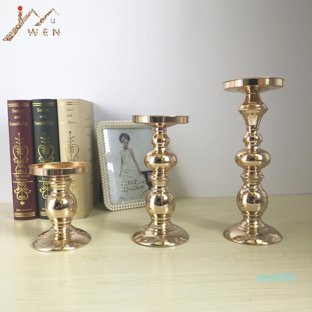 Candela del supporto del metallo Flower Vase Oro Candelabri Wedding Candle Adatti a basamento squisito Candeliere Tabella Home Decor SH190924