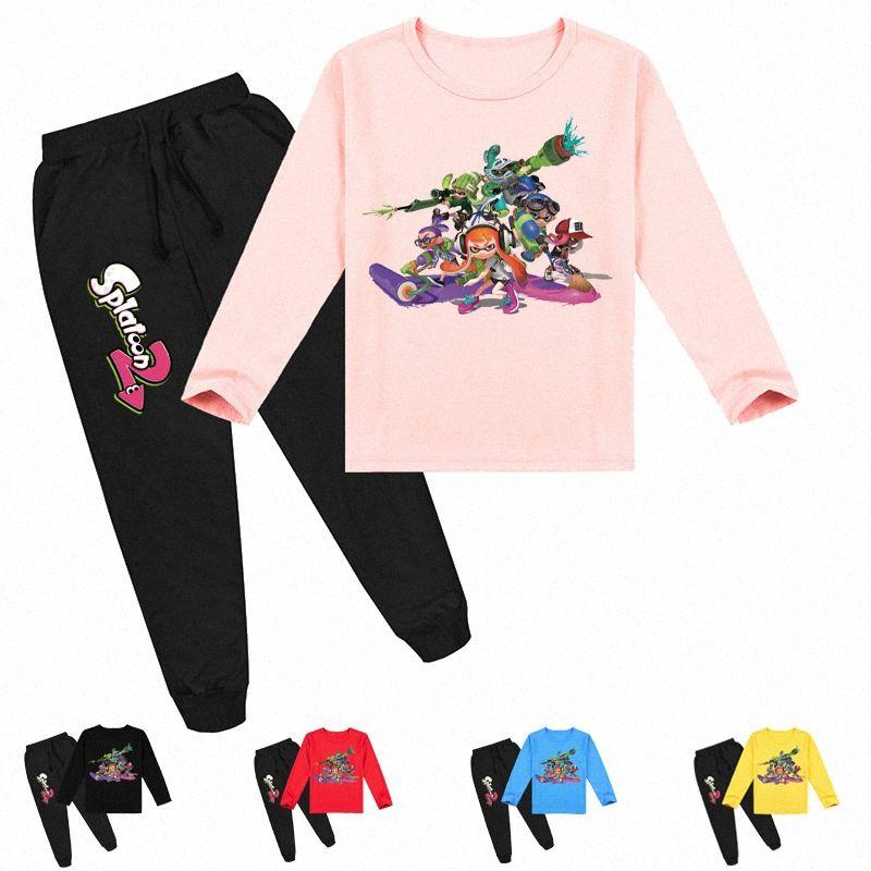 Аниме Splatoon Sportsuit Детские Мальчики Одежда Осень Толстовка Брюки 2pcs Набор детские мультики с длинным рукавом костюмы малышей Девочки Нижнее BNCI #