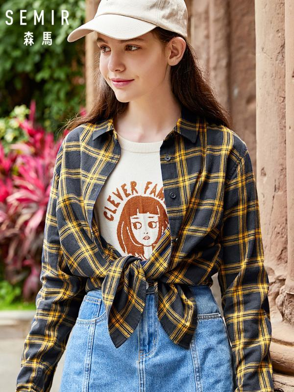 SEMIR Women Long Sleeve Shirt Women 2020 Autumn blouse New Retro Plaid Student Lapel Shirt Loose Thin tops woman