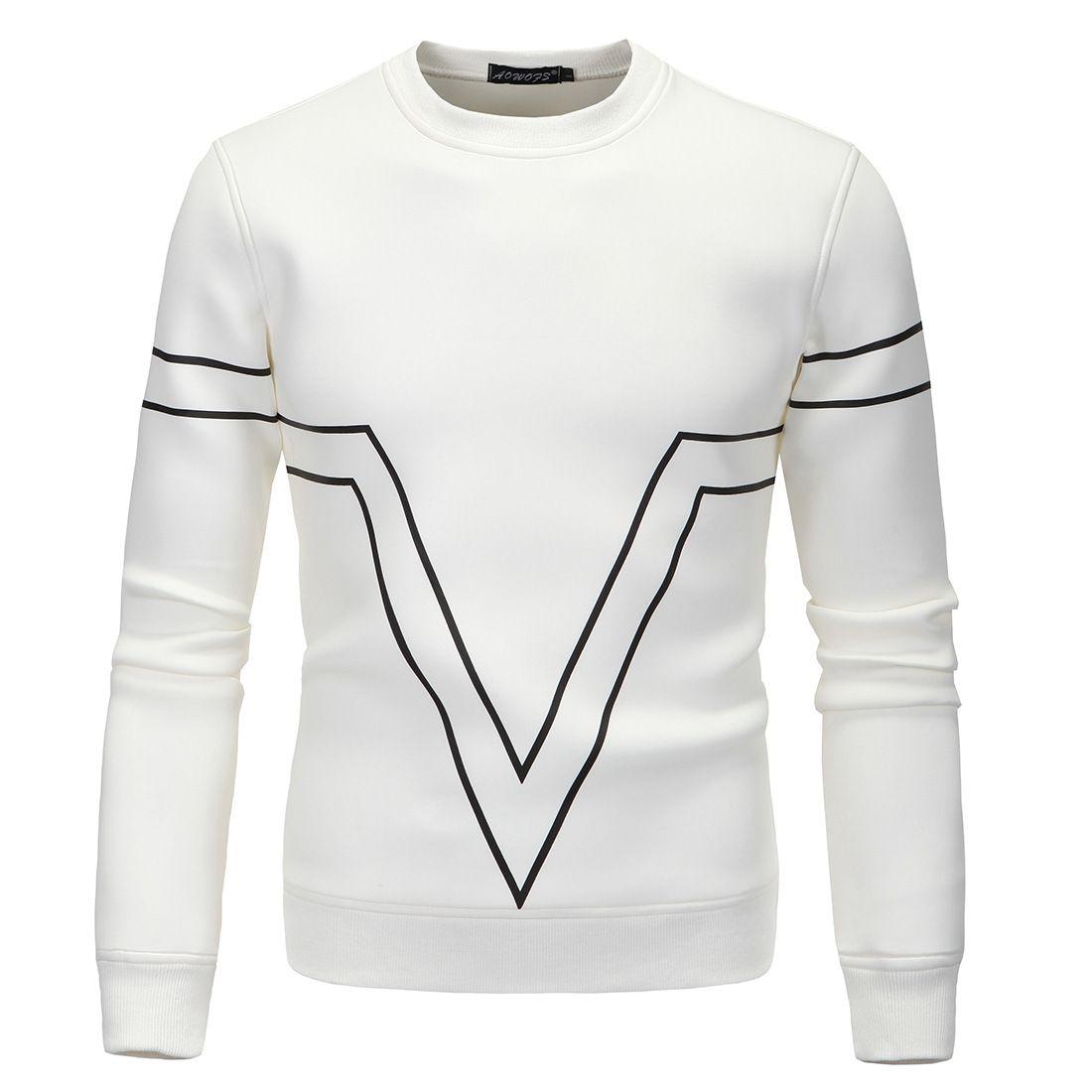 Erkek Kapüşonlular 2020 Yeni Geliş Moda Günlük Yüksek Kalite Uzun Kollu O-Boyun Tişörtü Siyah Beyaz Kırmızı