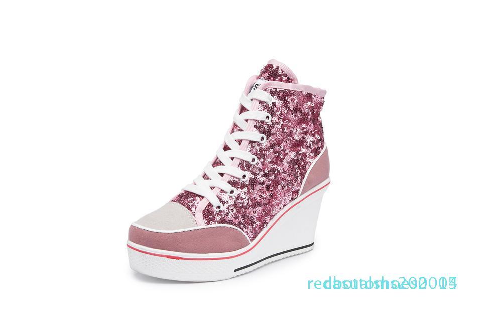 2019 zapatos de las mujeres del resorte otoño Negro del rosa de plata del brillo vulcanizar Zapatos mujer de la plataforma de la cuña zapatillas de deporte casuales C14 Zapatos De Mujer