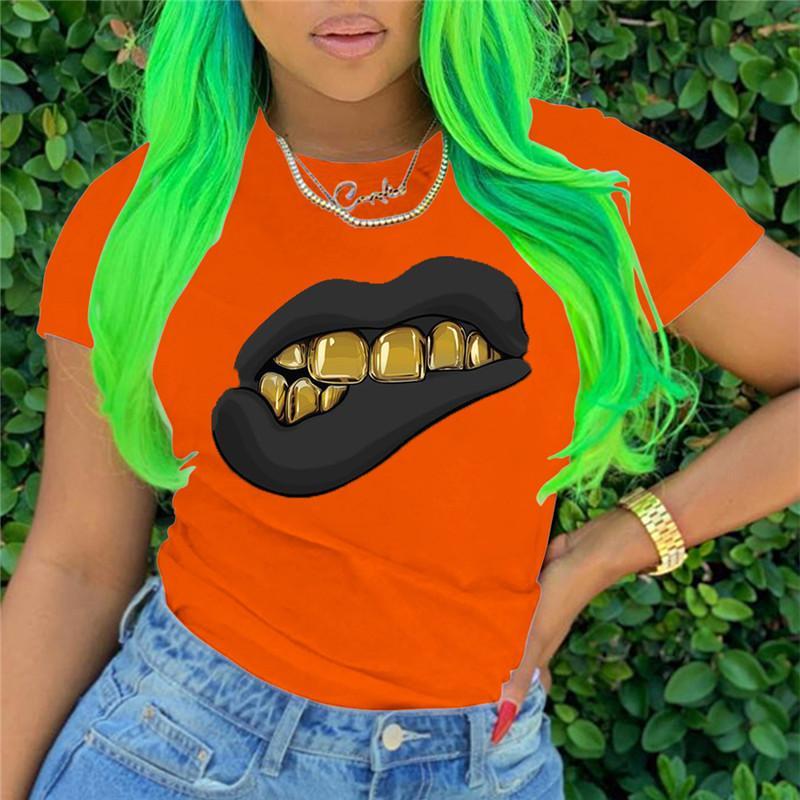 Lip Pattern Women Designer Tshirt Casual Short Sleeve O Neck Women Summer Tops Street Style Women Clothing