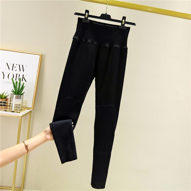 kO3NH daiyier Warm pantsTight beiläufige Hosen der koreanischen Art dünnen Samt thermische Gamaschen der Frauen Kniepolster hohe Taille gerade beiläufige Hosen Wome