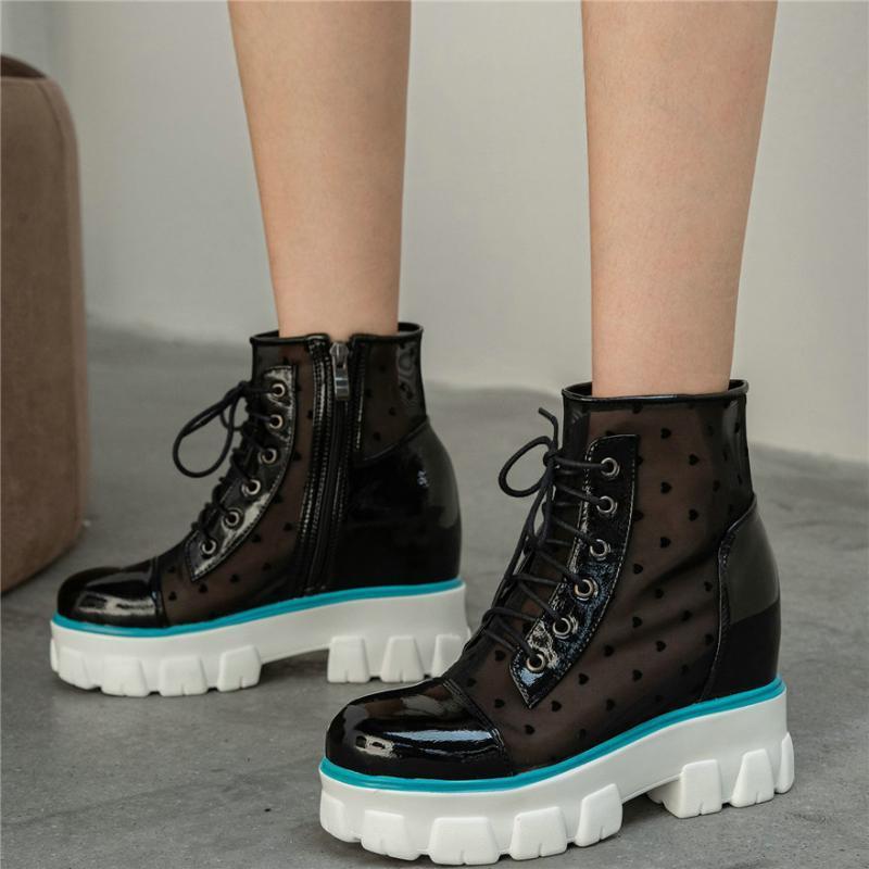 2020 del cuero del top del alto verano las botas del tobillo mujeres atan para arriba la patente de tacón alto del gladiador sandalias femeninas de plataforma transpirable zapatos de las bombas