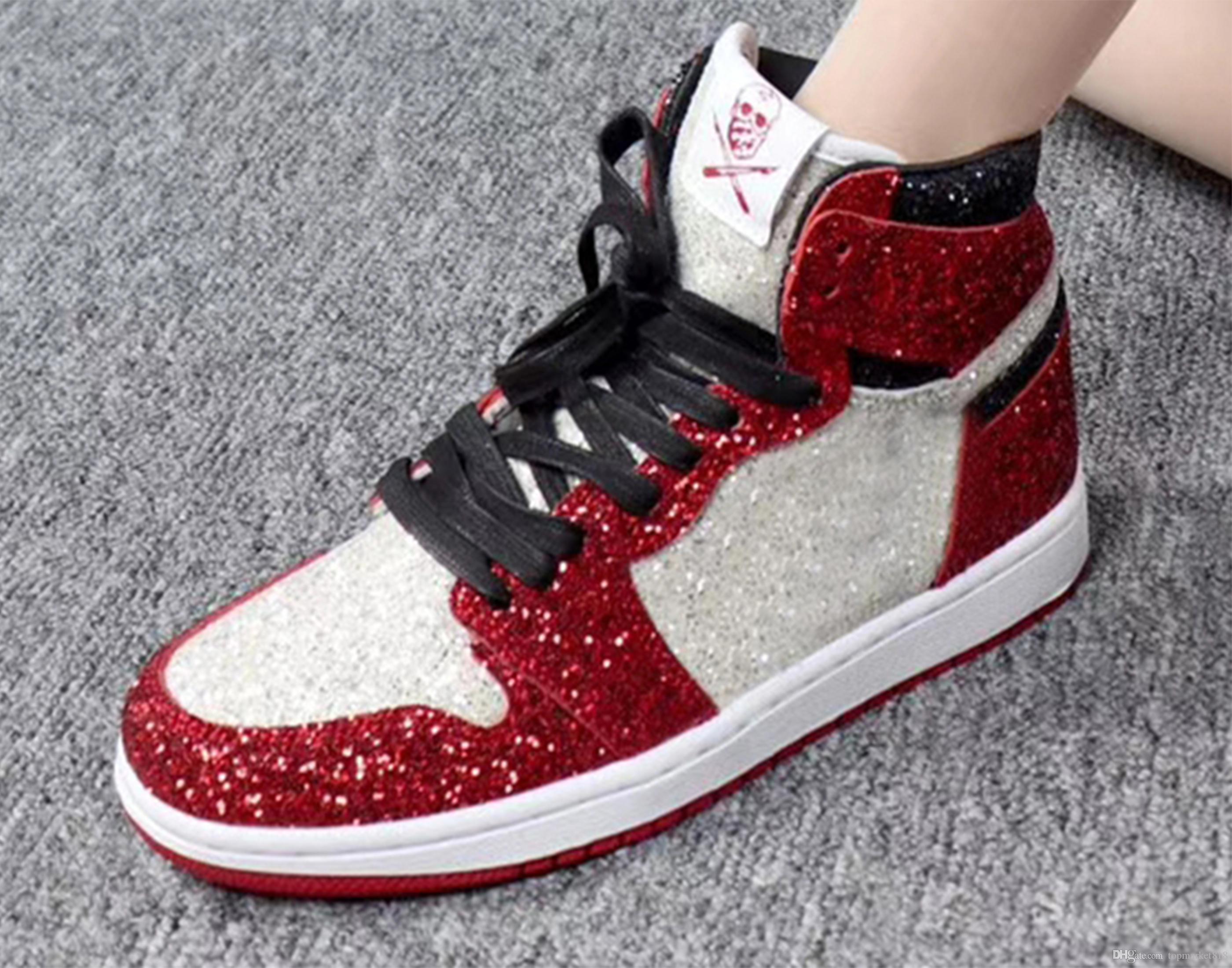 Kutu En Yeni 1 Yüksek OG XC2 Kuzey Kutbu Chicago Kırmızı ve Beyaz Glitter Erkek Basketbol Ayakkabı 1'ler ile spor ayakkabısı SIZE womens: 36-47,5