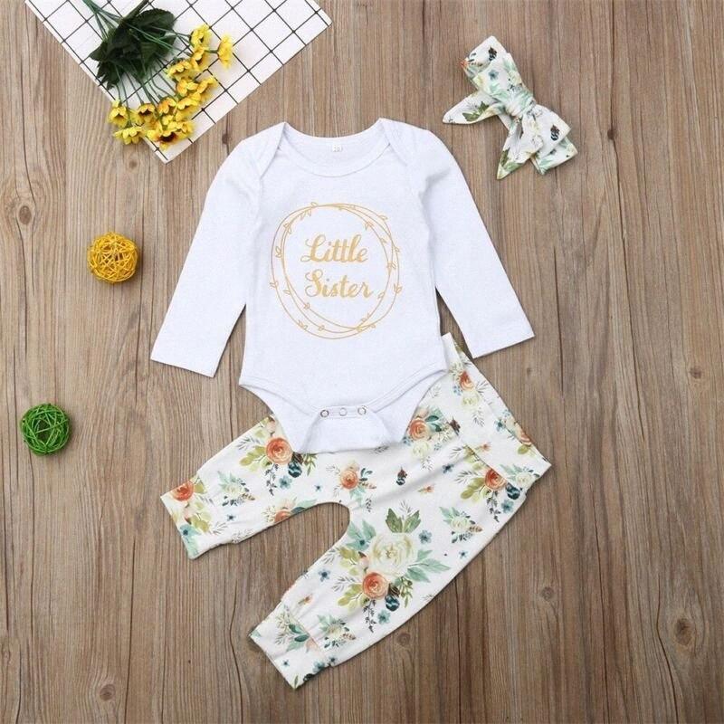 Новорожденные ребёнки Little Sister Ромпер Цветочные Леггинсы Брюки Теплая одежда Set aeyd #