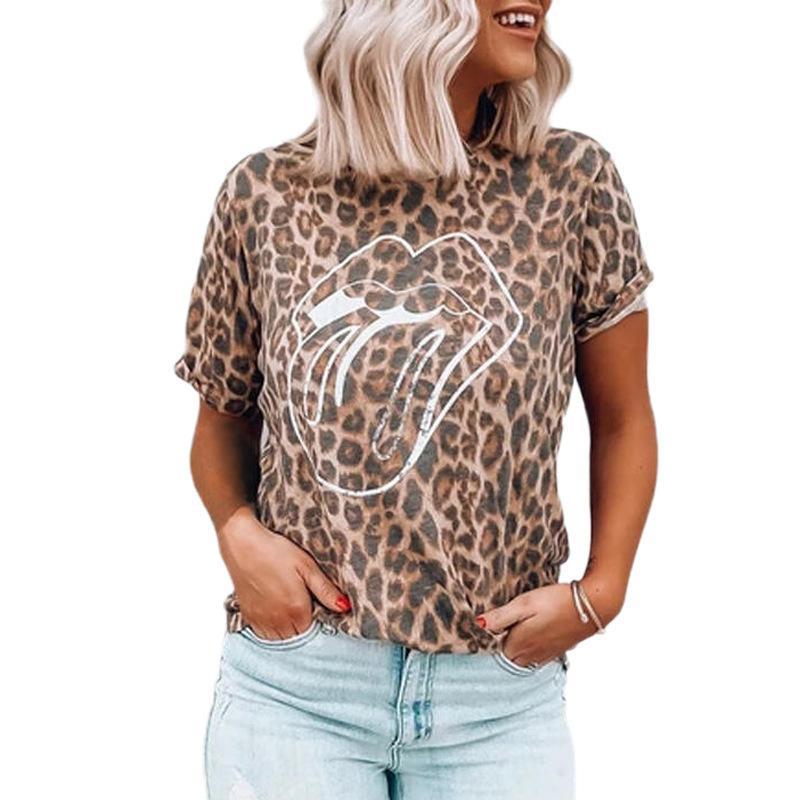 Nueva manga corta impresa leopardo de la llegada de labios de impresión Casual cuello redondo camiseta del tanque de las mujeres