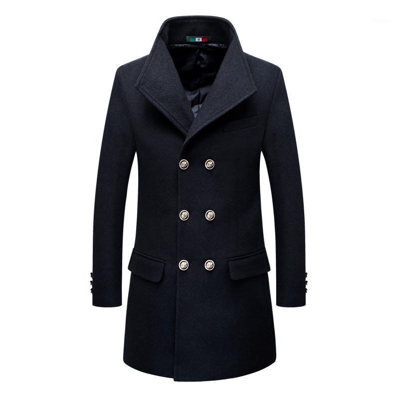 Brasão marca New Inverno Abotoamento Trench Mens Cashmere Overcoat Slim Fit Casual Moda Casacos de lã masculino Blends Outerwear1