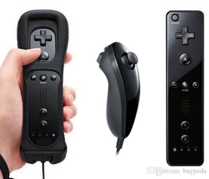 6 cores 2 em 1 Retail construído em Motion Plus Remote e Nunchuck Controller para Nintendo Wii Jogos DHL frete grátis