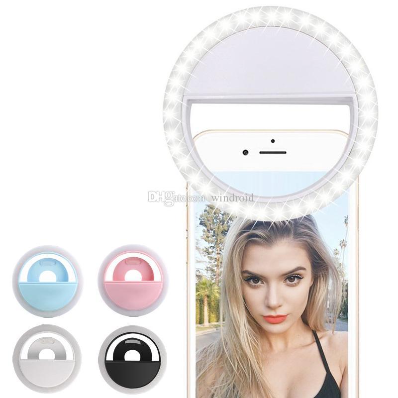 Fotografía de la cámara de iluminación Anillo selfie indicador de flash LED selfie RK12 recargable universal Luz Luz del anillo para el iPhone Samsung S10 Plus