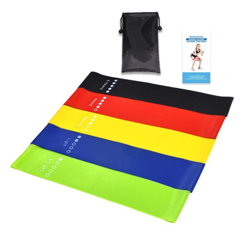 Resistance Bands 5pcs/set Yoga Rubber Indoor Outdoor Fitness Equipment 0.35mm-1.1mm Pilates Sport Training Workout Elastic