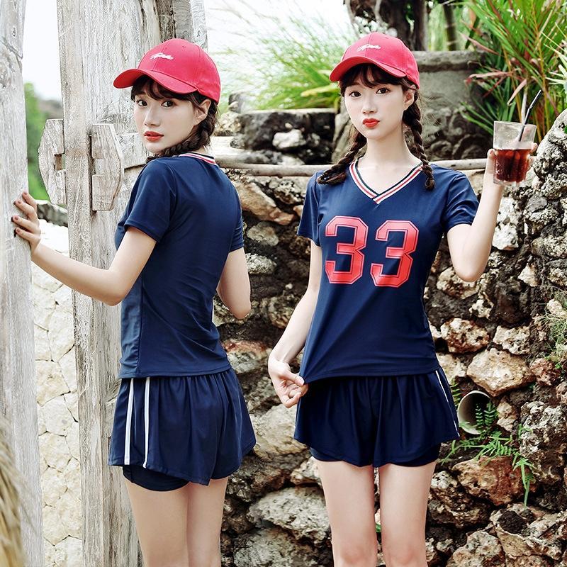 per costume da bagno studentesse sport stile coreano dimagrante conservatore pugile spaccato della pancia che copre 2019 nuovo costume da bagno