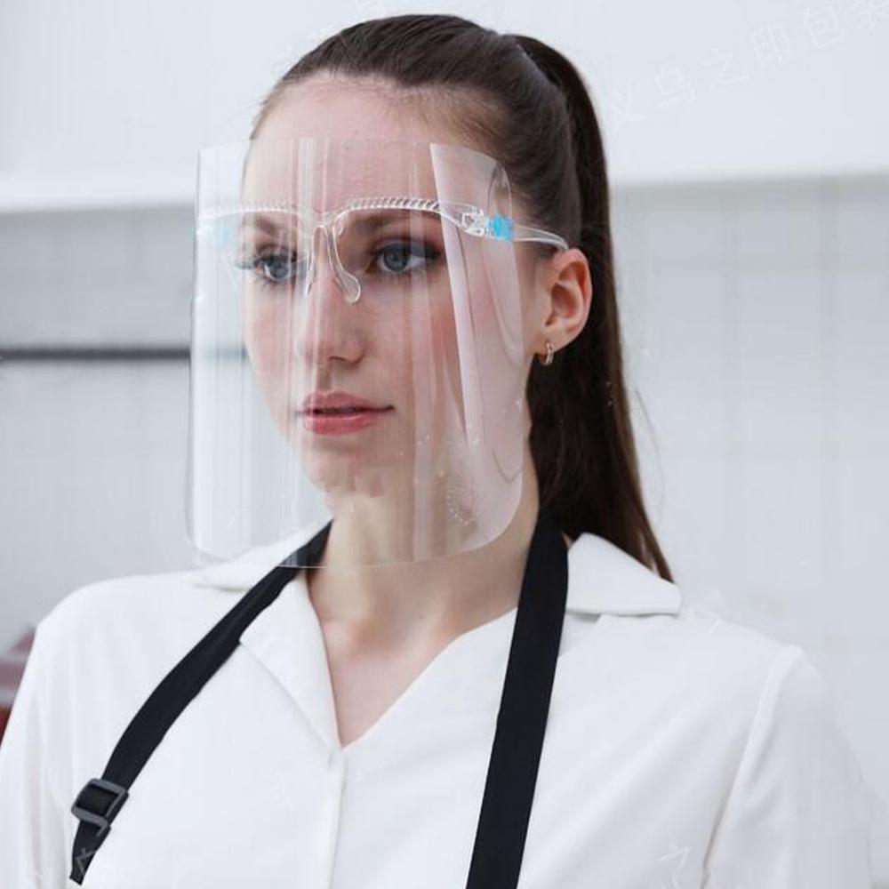 Şeffaf Koruyucu Yüz Kalkanı Plastik Ekran Tam Yüz Koruma İzolasyon Anti-sis Yağ Koruyucu Kalkan Şapka Kalp Wave Maske Maske