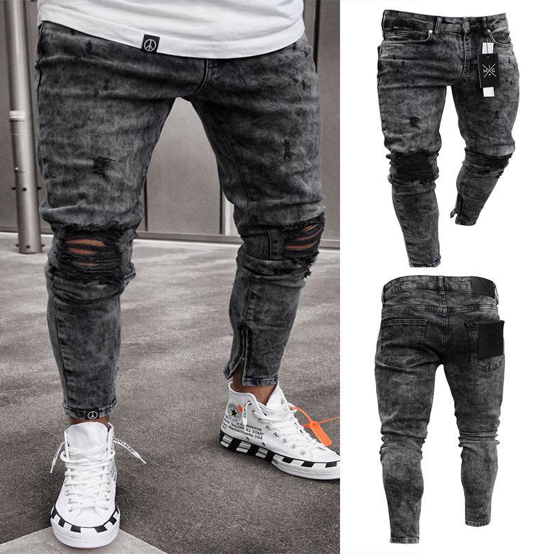 Aprile MOMO Uomini elegante jeans strappati pantaloni del motociclista Skinny Slim Etero Logoro Denim Pantaloni Moda Skinny Jeans Uomo Abbigliamento