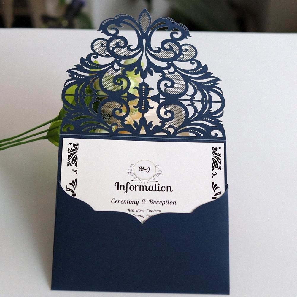10pcs / set Laser Cor Azul Convites Estilo do casamento do laço cartões europeus de Saudação do partido de acoplamento do casamento Cartão Suprimentos y3TH #