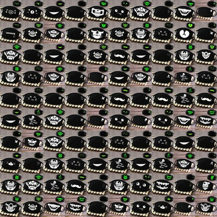 Täglicher Gebrauch Nase und Mund-Abdeckung Facemasks Glow In The Dark Schädel-Lächeln-Skelett-Gesichtsmaske Motorrad-Masken KEaRv BDE2011