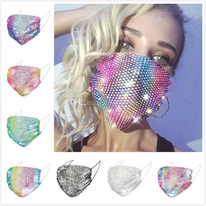 Bling Bling Maschere Paillettes faccia fascino maglia del diamante maschera anti polvere riutilizzabili maschere Designer lavate per maschere Bar Party 7 Styles