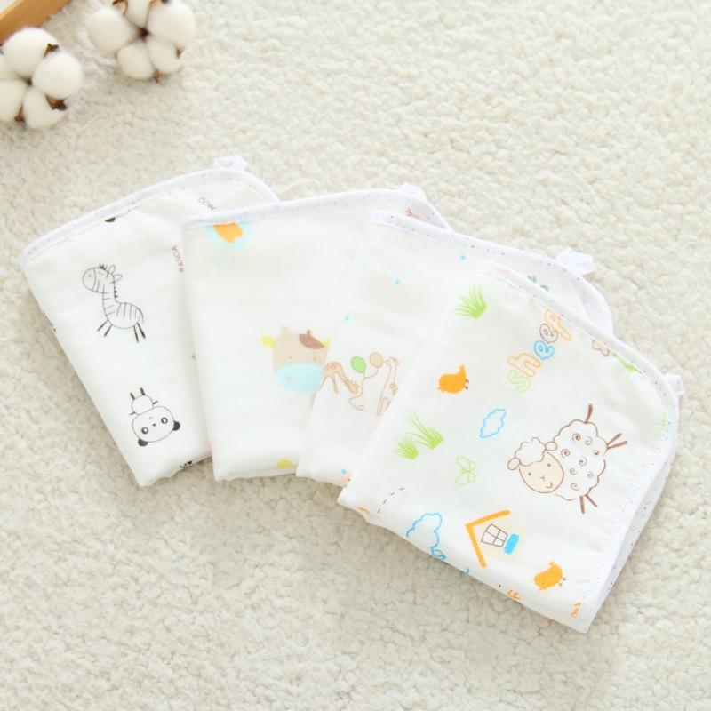Composite square 30 30cm towelVeil saliva towel one side gauze one side bamboo fiber infant cotton saliva towel