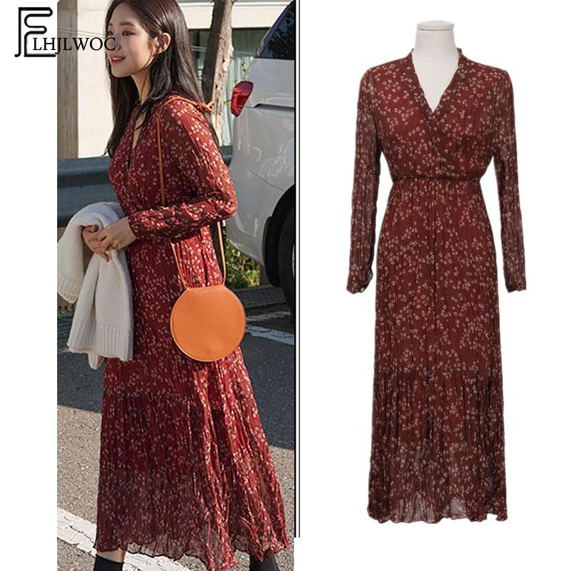 2020 abiti lunghi delle donne di disegno di moda manica lunga vita sottile Linea temperamento Lady Vintage stampa floreale abito Vintage 7912