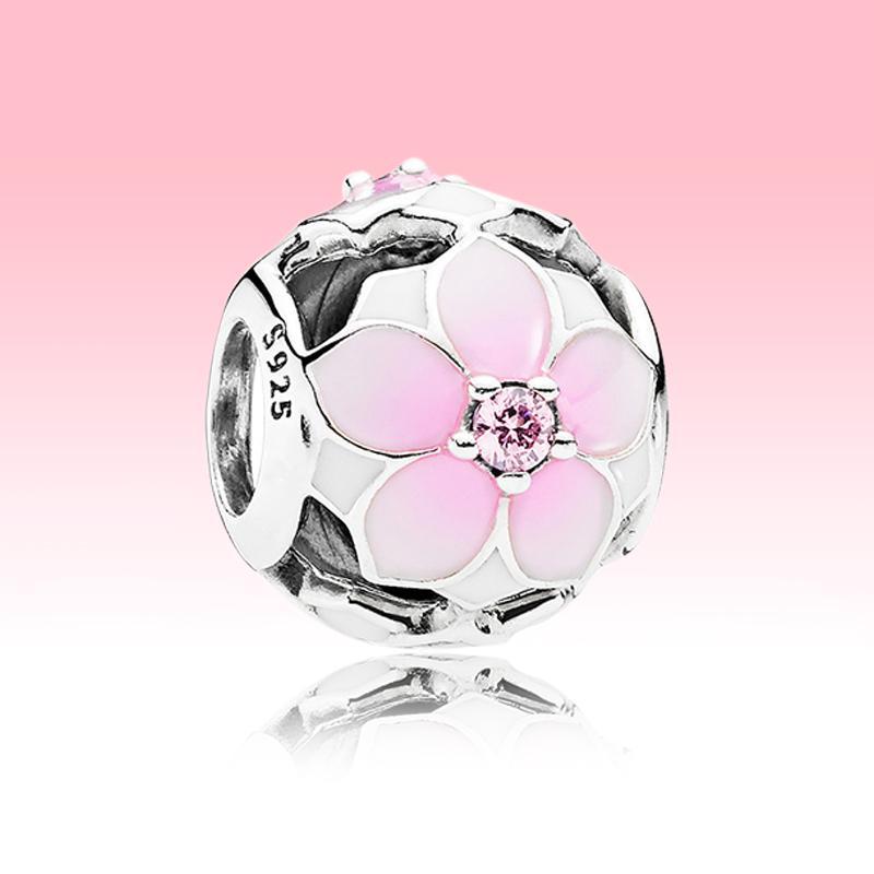 Openwork Rose Magnolia Fleur Charm avec boîte d'origine pour Pandora 925 Sterling Silver Beads Bracelet Bracelet Bracelet