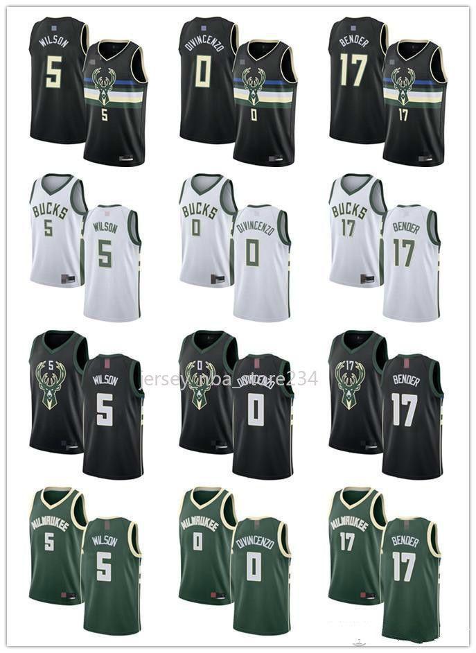 Frauen der Männer JugendMilwaukeeBucks5 D. J. Wilson 0 Donte DiVincenzo 17 Dragan Bender Schwarz, Grün, Weiß Custom Basketball Jerseys