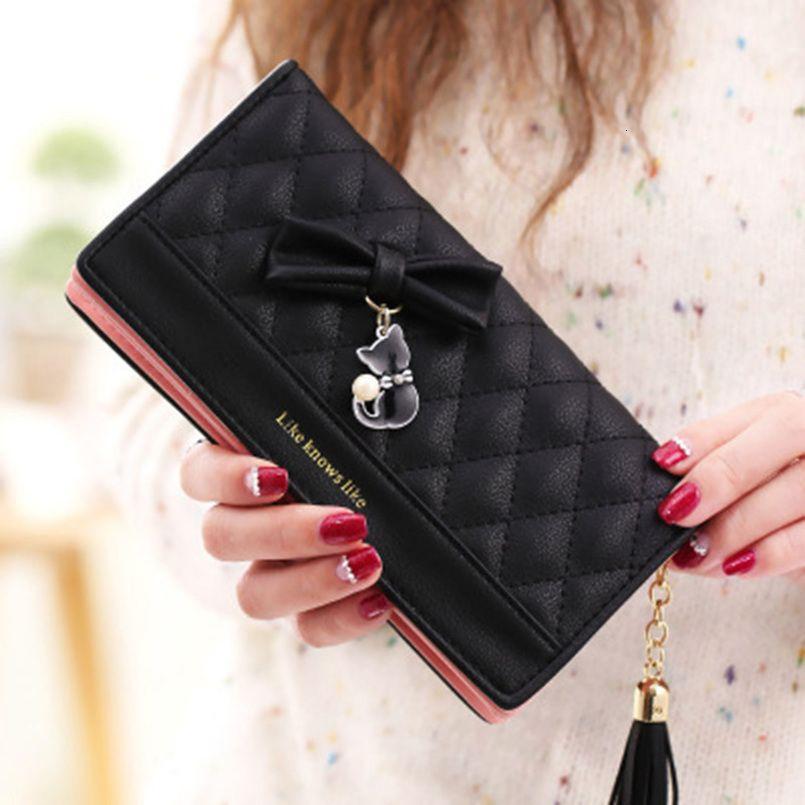 Frauen Portemonnaie weibliche Quaste Schöne Münzen-Geldbeutel-Kartenhalter-Mädchen-nette lange Kupplungs-Beutel für Frauen 2019 Wallet Frauen-Pass-Abdeckung