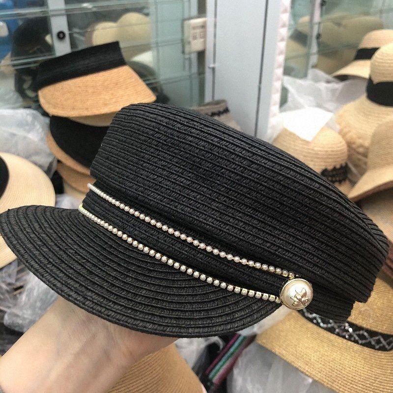 202003-yy Mode Perle Biene, die schwarze Gras Dame VISIERE Kappe -frauenfreizeit Straße Hut NKdH #