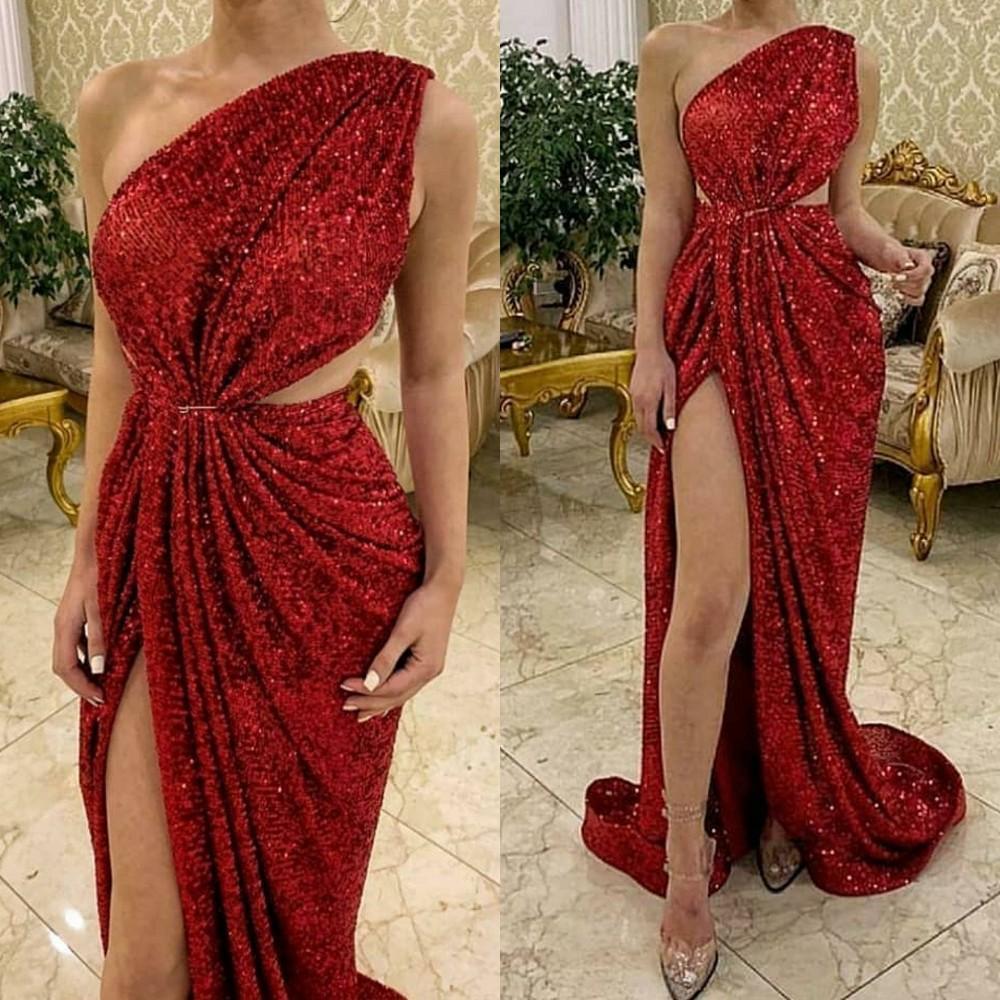 Vestidos de fiesta rojos de lentejuelas largas