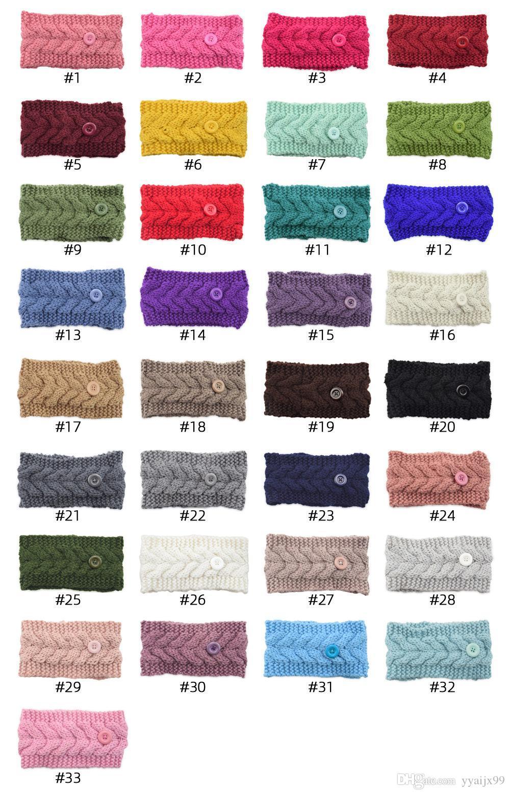 Femmes Twist Bandeau Pour Masque Laine Crochet Knit Hairband hiver Oreille plus chaudes filles Headwrap Accessoires cheveux avec Bouton