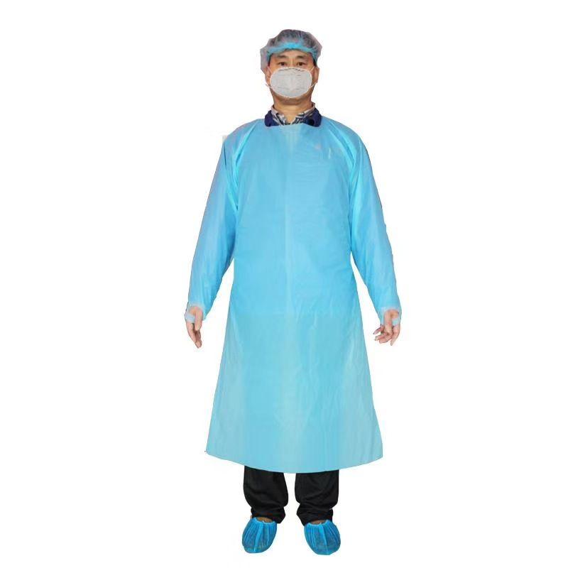CPE Защитная одежда Одноразовая Изоляция мантий одежда Костюмы Упругие Манжеты против пыли Фартук Открытый Защитная одежда ZZA2228-1