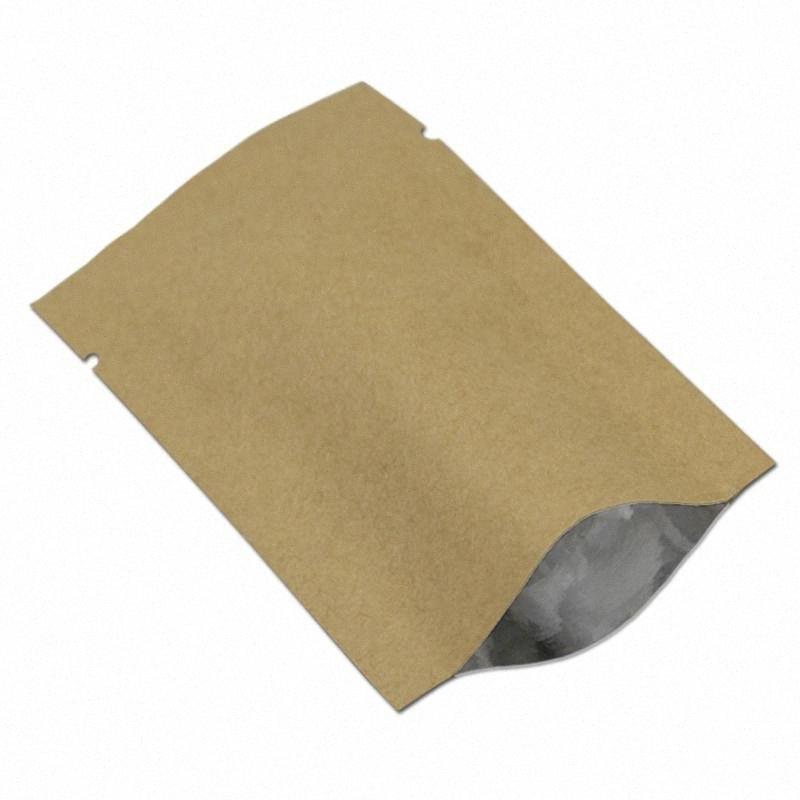 50Pcs большие размеры Open Top Kraft Paper Алюминиевая фольга для хранения Упаковка Мешок вакуумные упаковочные Майларовые Гайки Crafts Упаковка Мешки 7HjD #