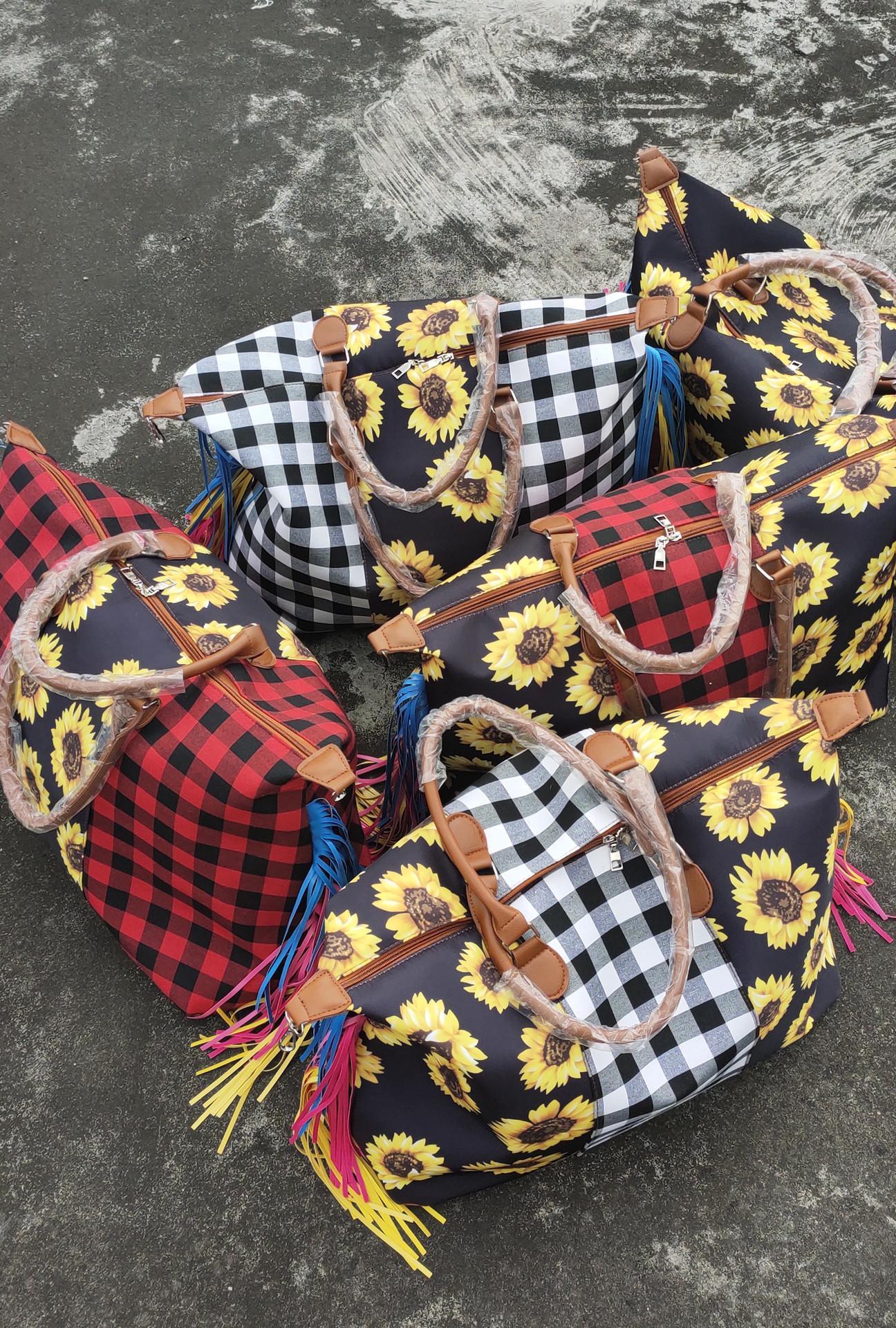 Les femmes de cadeau de Noël Leopard Weekender sac avec poignée en cuir sac à main à carreaux de buffle patchwork tie dye pompon