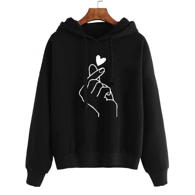 NORMOV Autumn Casual Women Hoodies Fashion Print Long Sleeve Plus Velvet Hooded Cotton Pullovers Loose Hoodies 5 Colour