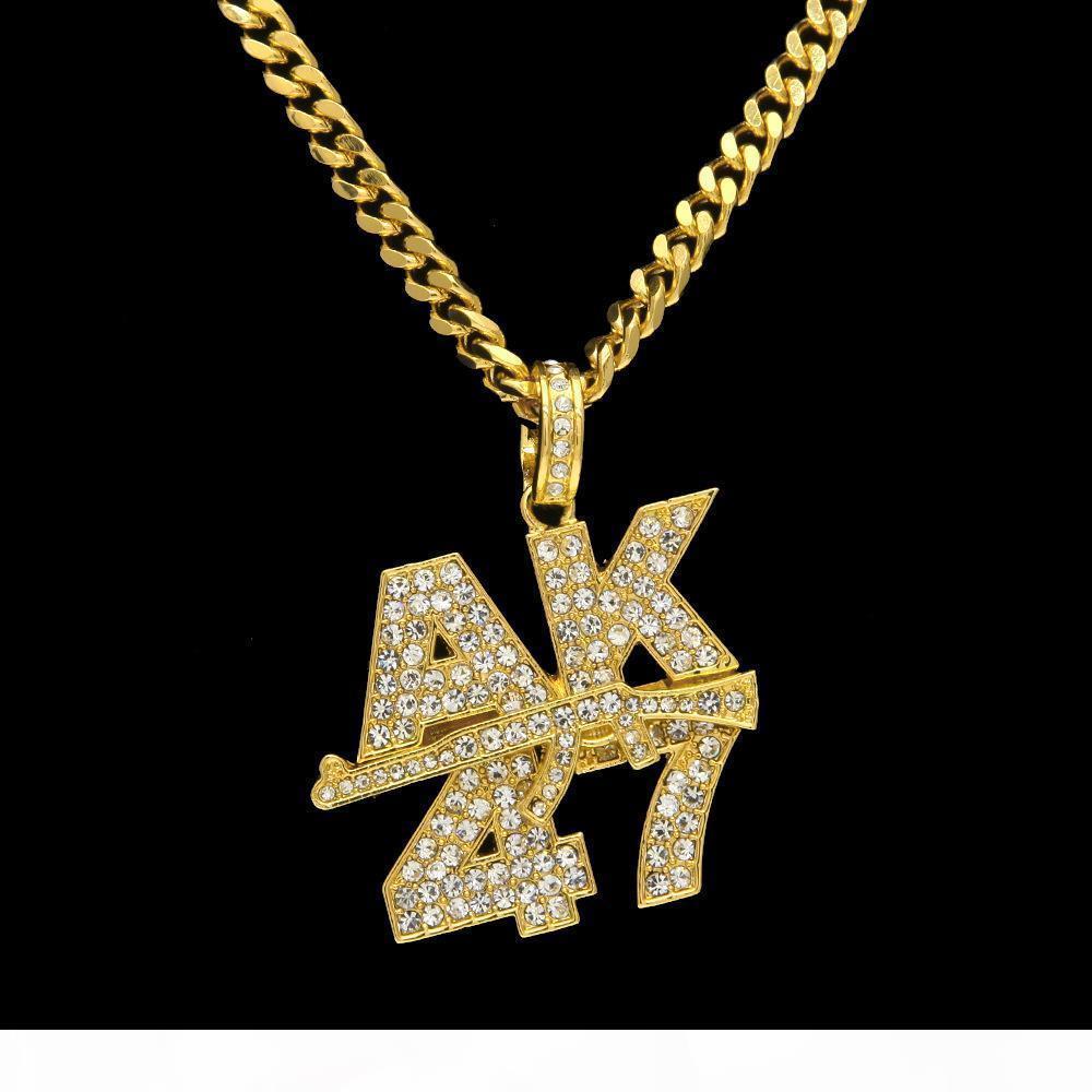 Oro Argento placcato ghiacciato Cz Hip -Hop Ak47 Logo Collana E Mens 18k Mitraglietta ciondolo con 5 millimetri 27 Quot; Lunga cubana catena della collana di F