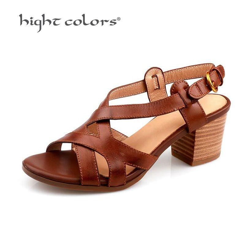 Big Size 34~40 Comfortable 100% Genuine Leather Peep Toe Sandals Rome Middle heel Sandals Brown Retro Shoes Women HC855
