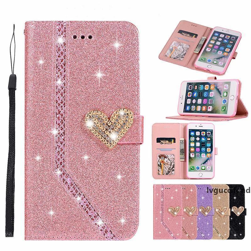 Glitter Folio flip Love Heart Bling Housse en cuir pour iPhone 11 pro max XS MAX XR 6 7 8 PLUS Samsung S10 PLUS PLUS note10